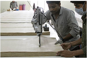 Cutting Jute Fabric