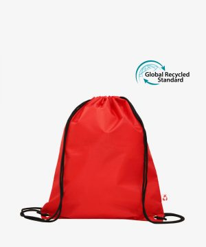 Red Recycled Polyester Drawstring Bag